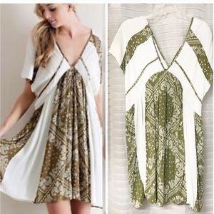 Entro kimono panel green & beige tunic dress large